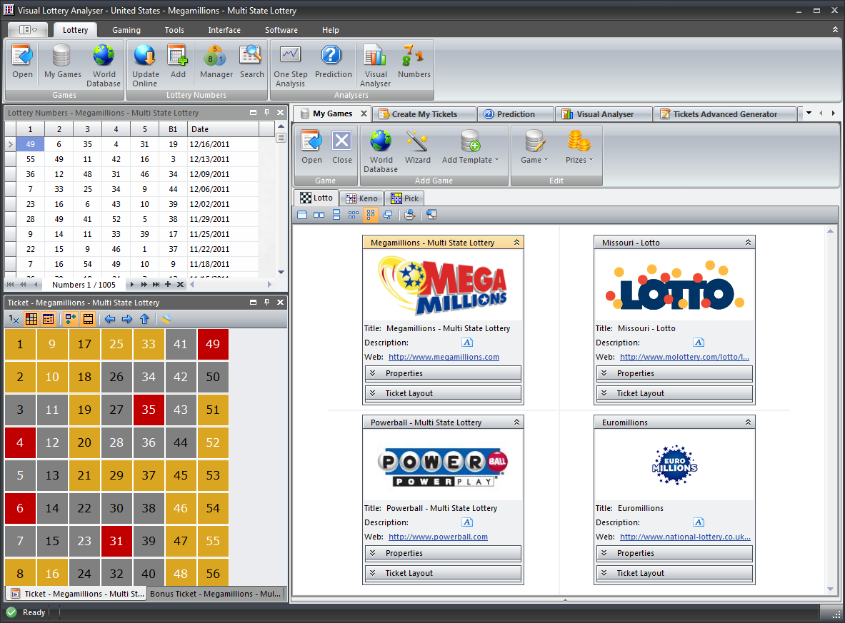 Visual Lottery Analyser is a lottery games analyzer with superior features for creating advanced lottery tickets; perform visual drawing analyzing, using wheel systems, and statistics. Works with almost all lottery game types in the world.